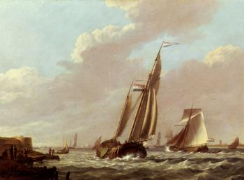 Johannes Hermanus Koekkoek : Shipping In A Choppy Estuary