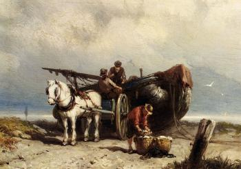 Johannes Hermanus Koekkoek : Unloading The Catch