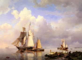 Johannes Hermanus Koekkoek : Vessels At Anchor In Estuary With Fisherman