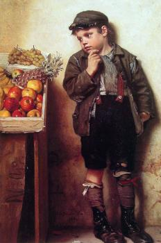 John George Brown : Eyeing the Fruit Stand