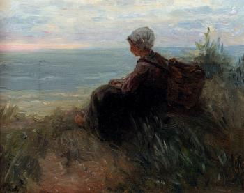 Jozef Israels : A Fishergirl On A Dunetop Overlooking The Sea