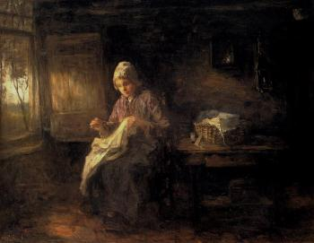Jozef Israels : A Woman Sewing