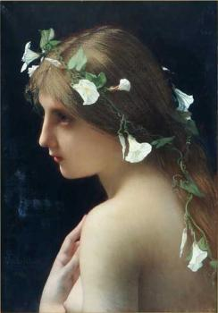 Jules Joseph Lefebvre : Nymph with morning glory flowers