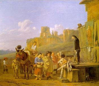 Karel Dujardin : A Party of Charlatans in an Italian Landscape
