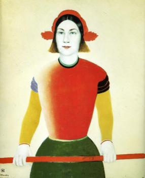 Kazimir Malevich : Girl with Red Flagpole