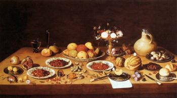 Still-Life on a Table with Fruit and Flowers