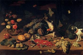 Jan Van Kessel : Still-Life with a Monkey Stealing Fruit