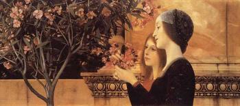 Gustav Klimt : Two Girls With An Oleander