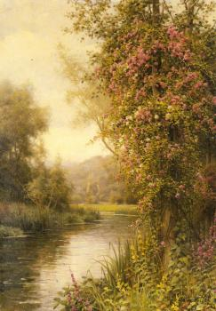 Louis Aston Knight : A Flowering Vine along a Winding Stream with a Country Churc