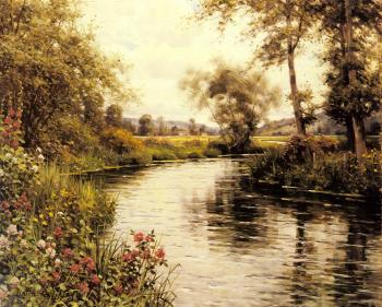Louis Aston Knight : Flowers in Bloom by a River