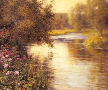 Louis Aston Knight : Spring Blossoms along a Meandering River