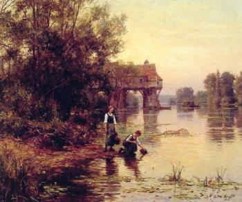 Louis Aston Knight : Two Girls by a Stream