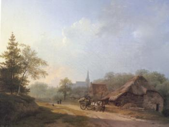 Barend Cornelis Koekkoek : A Cart on a Country Road in Summertime