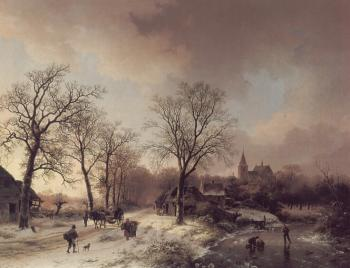 Barend Cornelis Koekkoek : Figures in a Winter Landscape