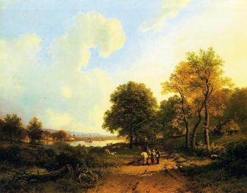 Barend Cornelis Koekkoek : Peasants on a Path by a River