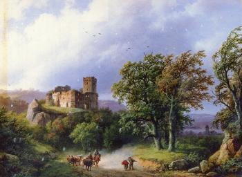Barend Cornelis Koekkoek : The Ruined Castle