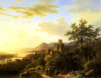 Barend Cornelis Koekkoek : Travellers on a Path in an extensive Rhineland Landscape