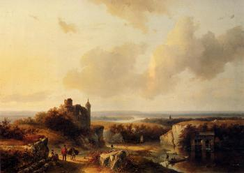Barend Cornelis Koekkoek : An Extensive Rive Landscape With Travellers