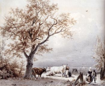 Barend Cornelis Koekkoek : Cows In A Sunlit Meadow