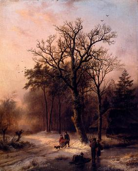 Barend Cornelis Koekkoek : Forest In Winter