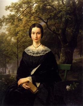 Barend Cornelis Koekkoek : Portrait Of A Young Lady