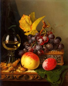 Edward Ladell : Still Life of Black Grapes
