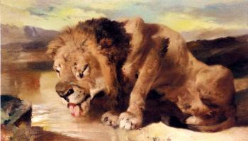 Sir Edwin Henry Landseer : Lion Drinking At A Stream