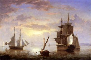 Fitz Hugh Lane : Ships in a Harbor, Sunrise