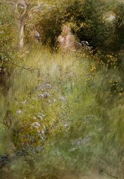 Carl Larsson : A Fairy, or Kersti, and a View of a Meadow