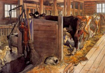 The Cowshed Carl Larsson
