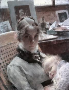 A studio idyll. The artist's wife with daughter Suzanne
