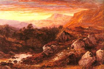 Benjamin Williams Leader : The Valley of the Lleder, North Wales