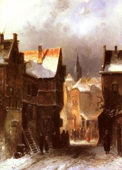 Charles Henri Joseph Leickert : A Dutch Town in Winter
