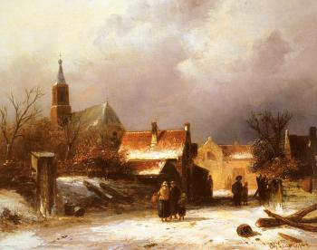 Charles Henri Joseph Leickert : Figures on a snow covered Path with a Dutch Town beyond