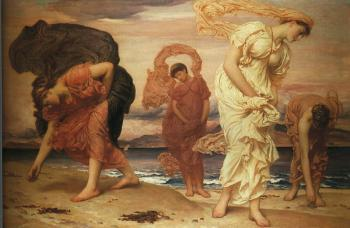 Lord Frederick Leighton : Greek Girls Picking up Pebbles by the Sea