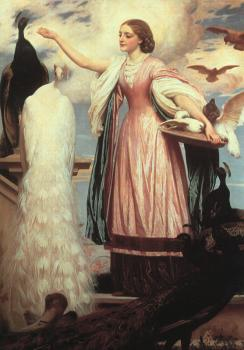 Lord Frederick Leighton : A Girl Feeding Peacocks