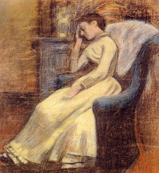 Georges Lemmen : Julie Lemmen Sleeping in an Armchair