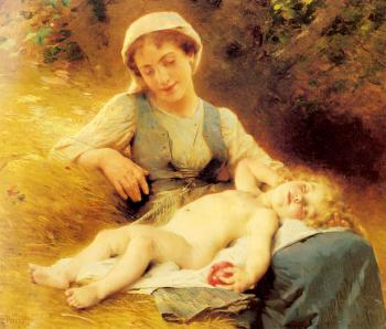 Leon Bazile Perrault : A Mother with her Sleeping Child