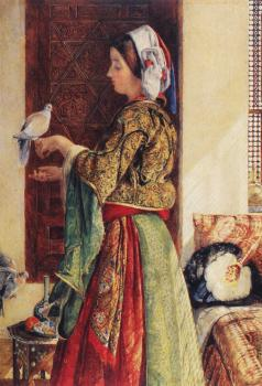 John Frederick Lewis : Girl with Two Caged Doves