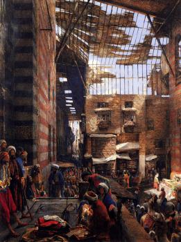 John Frederick Lewis : A View Of The Street And Morque Of Ghorreyah, Cairo