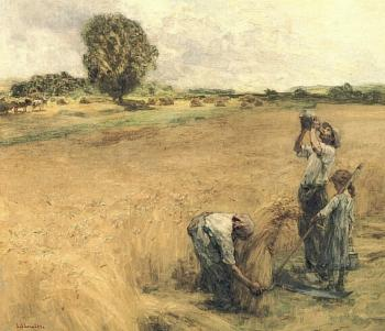 Leon Augustin Lhermitte : Drinking harvester has the gourde