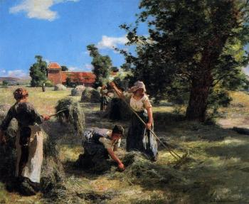 Leon Augustin Lhermitte : Harvest at the Farm on Rue Chaily