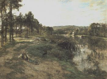 Leon Augustin Lhermitte : Herd at the Edge of water