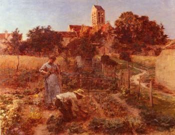 Leon Augustin Lhermitte : In the Garden, Charteves, Close to Mont-Saint-Pere