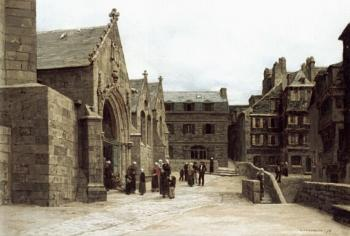 Leon Augustin Lhermitte : Leaving the Saint-Melaine Church in Morlaix
