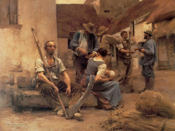 Leon Augustin Lhermitte : Paying the Harvesters