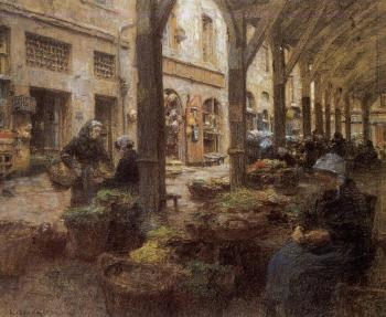Leon Augustin Lhermitte : The Covered Vegetable Market, St Malo