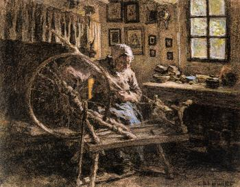Leon Augustin Lhermitte : The Spinning Wheel