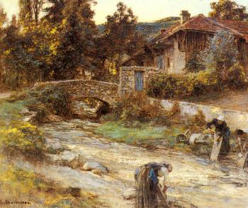 Leon Augustin Lhermitte : Washerwomen at a Stream with Buildings beyond