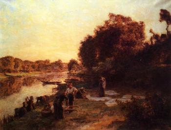 Leon Augustin Lhermitte : Washerwomen by the Banks of the Marne